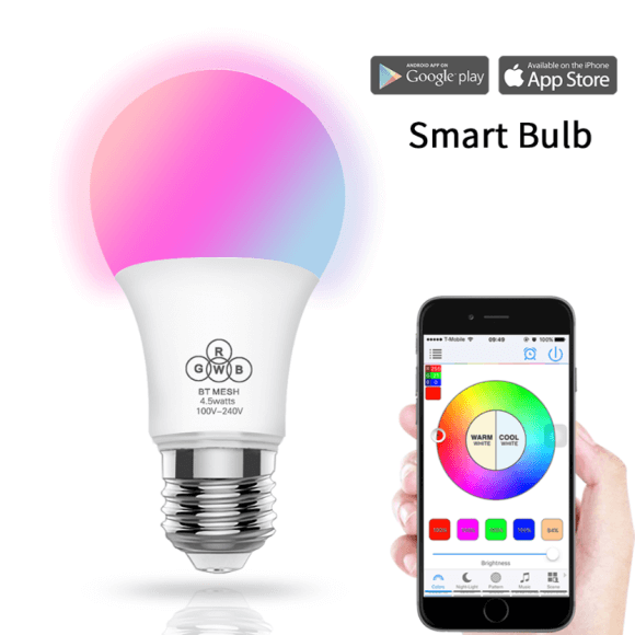 SS BTB RGBW 4.5W smart A19 A60 led bulb bluetooth mesh color changing